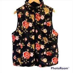 KENSIE Floral Reversible Quilted Vest